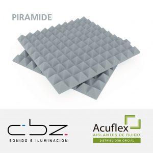 Pirámide Premium Gris Perla 30mm Ignífugo 61x61cm
